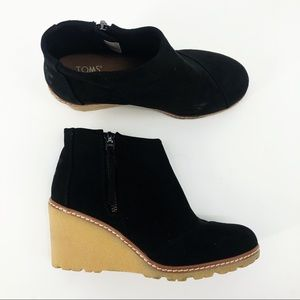 TOMS Black Wedge Microfiber Ankle Bootie Avery 6